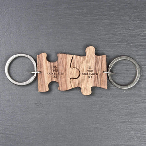 You Complete Me Romantic Jigsaw Keyring,