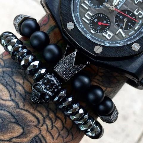 BLACK SKULL/CROWN Bracelet