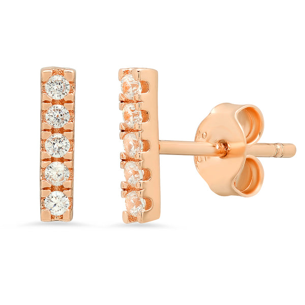 Stella Pave Bar Stud Earrings