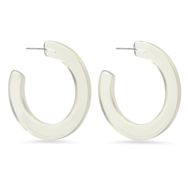 November Six Resin Hoop Earrings - Clear
