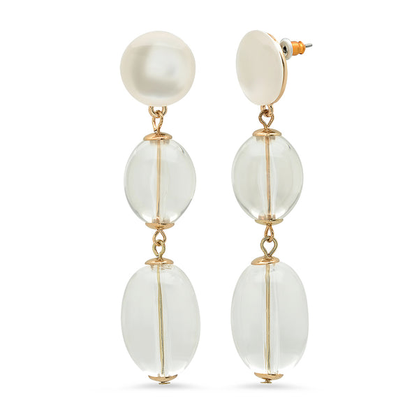 Leandra Acrylic Drop Earrings - Clear