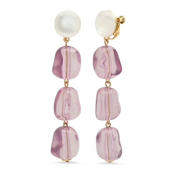Leandra Acrylic Drop Earrings - Pink