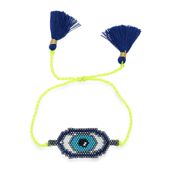 NOVEMBER SIX Neon Yellow Evil Eye Bracelet