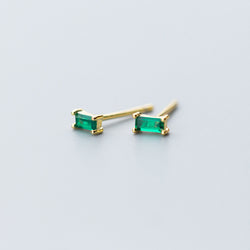 Mini Green Diamond Baguette Studs