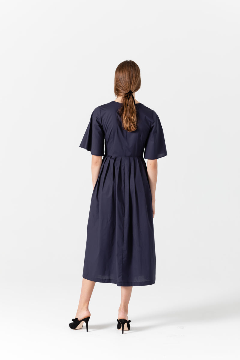 Lauren Cotton Pleated Midi Shirt Dress In Navy-Blue