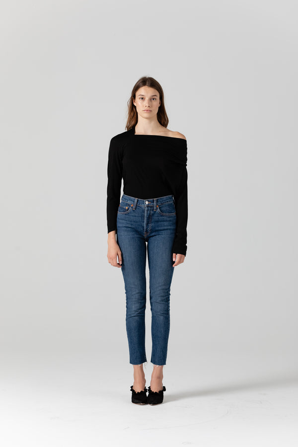 Leora Draped Wool Black Top