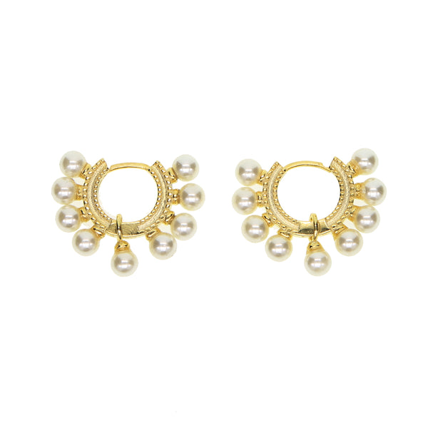 Lola Pearl Huggie Earrings