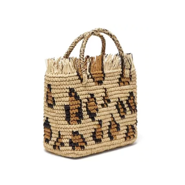 Leopard Straw Bag
