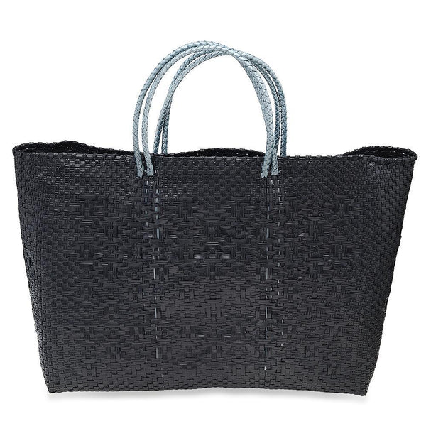 BLACK/ GREY HANDWOVEN TOTE