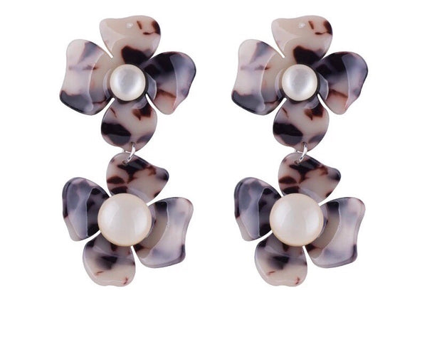 Flower Earrings - Marble