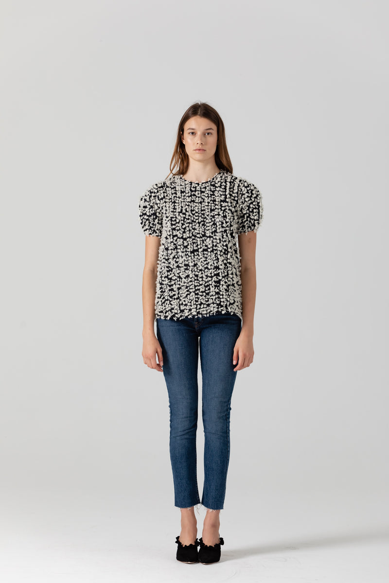 Colette Embellished Feather Top - Black