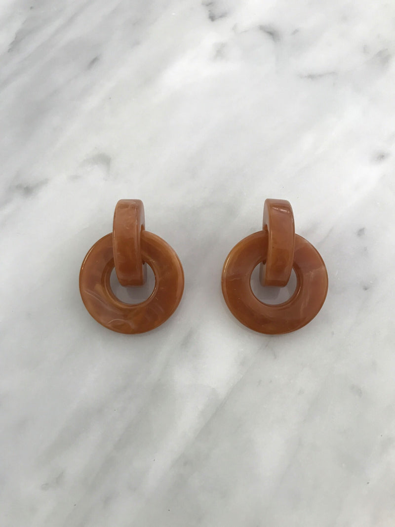 Caramel Acrylic Hoop Earrings