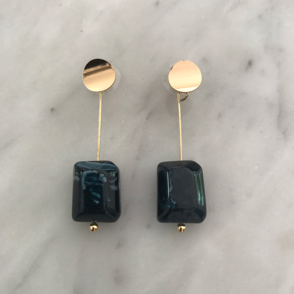 Madeline Marble Earrings - Navy
