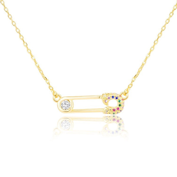 Safety Pin Necklace Rainbow Pave