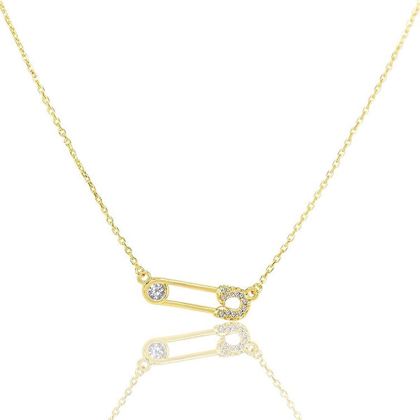 Safety Pin Necklace Gold Pave Diamonds