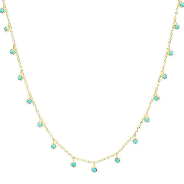 mini turquoise bezel dangle necklace