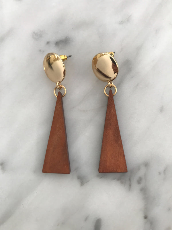 LEO Gold-Plated Wood Earrings