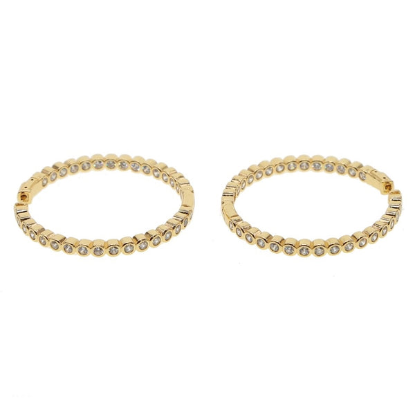 Bezel Gold Hoop Earrings