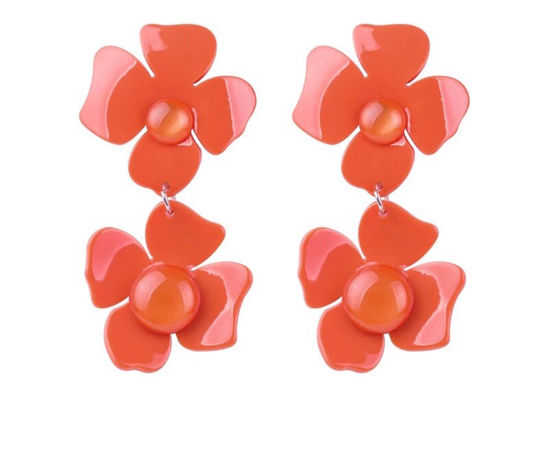 Acrylic Flower Earrings - Red
