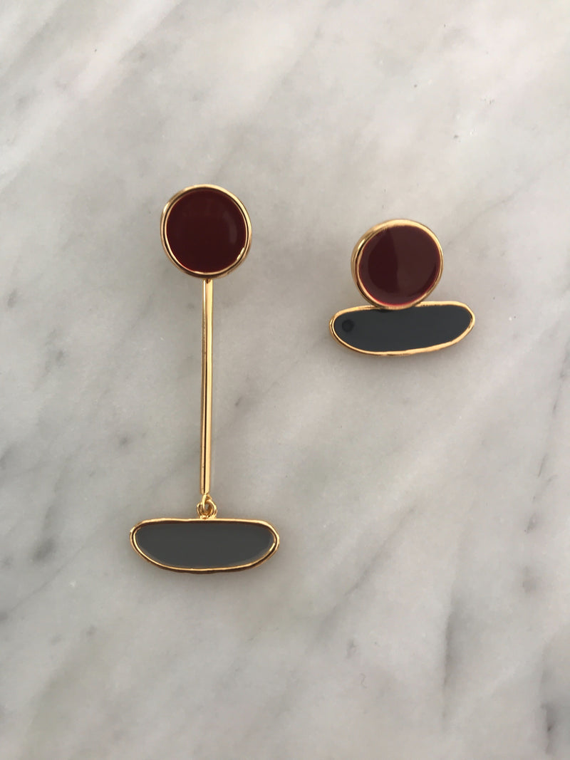 Mira Enamel Mismatched Earrings