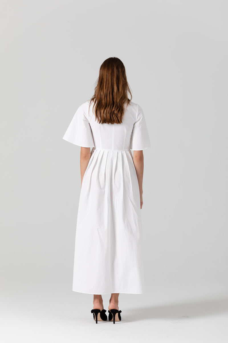 Lauren Cotton Pleated Midi Dress In White l November Six