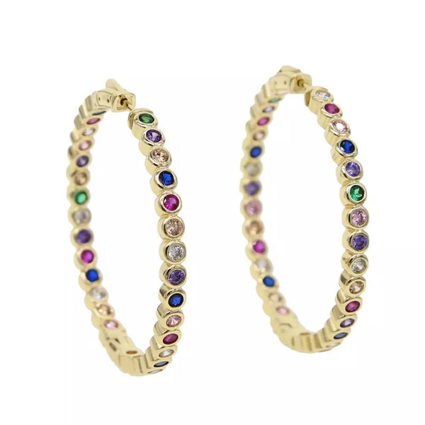 Rainbow Gold Filled Hoop Earrings