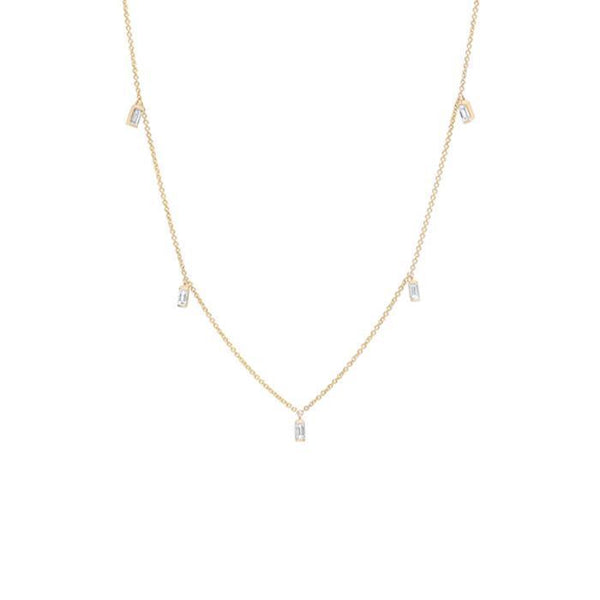 Jewelry - Diamond Baguette & 14K Yellow Gold Necklace