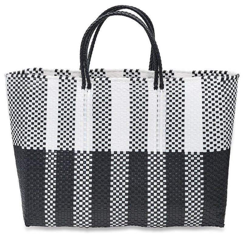 LARGE HANDWOVEN TOTE - BLACK AND WHITE STRIPES