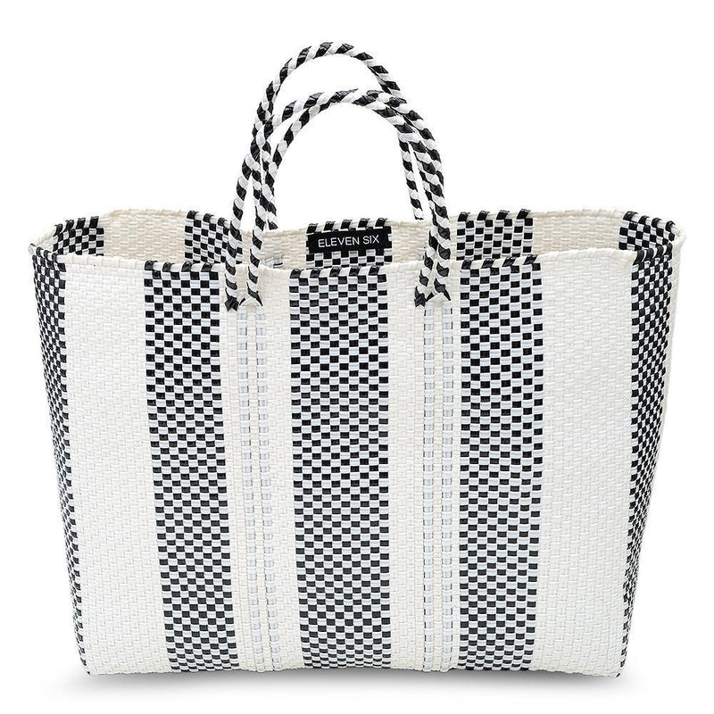 LARGE HANDWOVEN TOTE - BLACK/WHITE