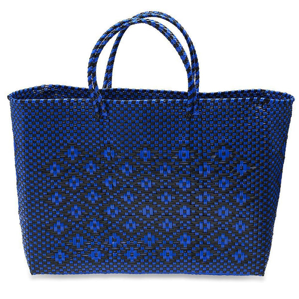 LARGE HANDWOVEN TOTE - NAVY BLUE