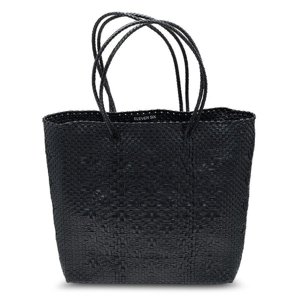 MEDIUM HANDWOVEN TOTE - BLACK