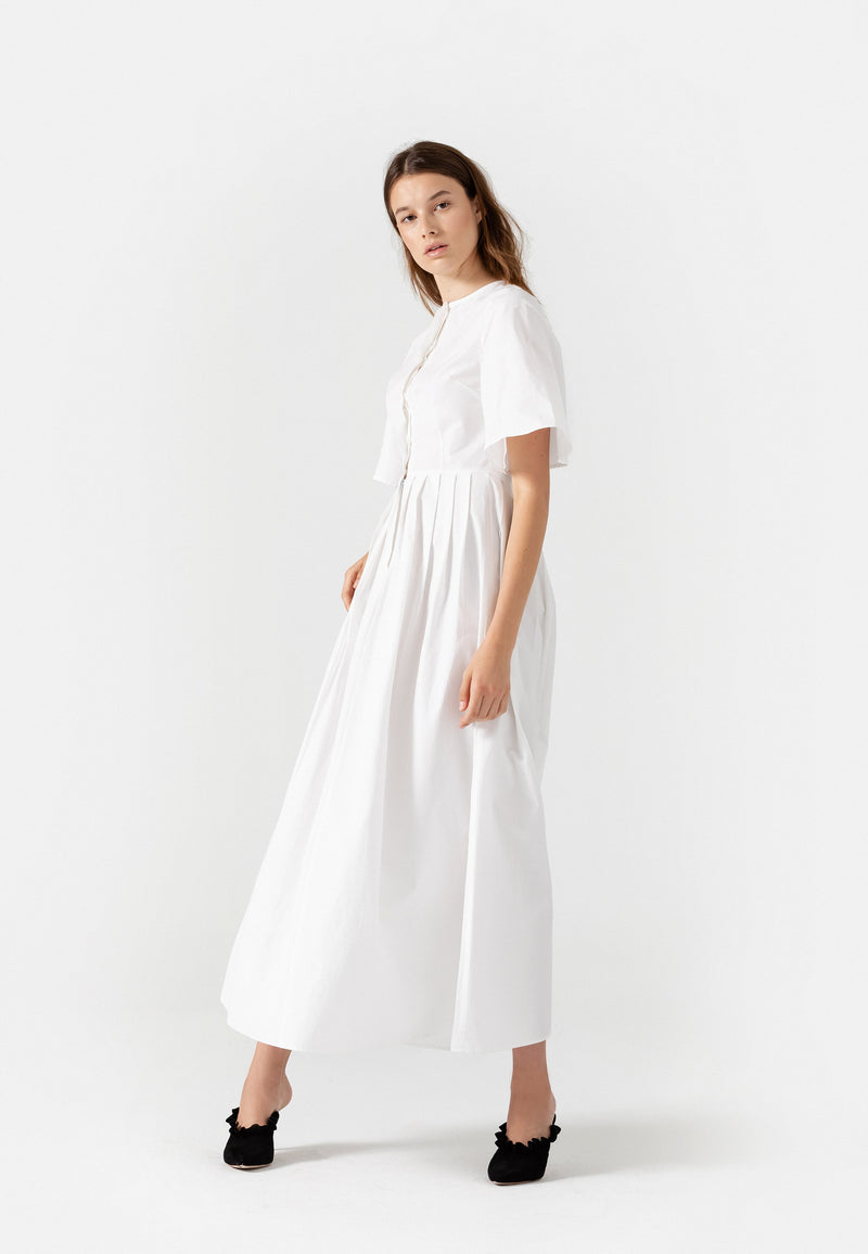 SHOP - Lauren Cotton Pleated Midi Dress In White L November Six