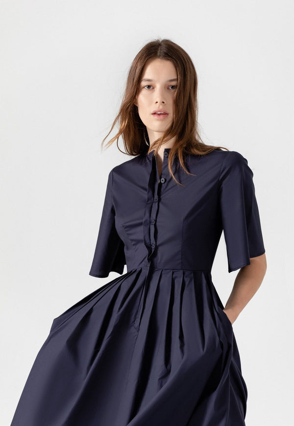 SHOP - Lauren Cotton Pleated Midi Shirt Dress In Navy-Blue L November Six
