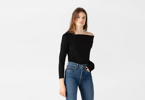 SHOP - Leora Draped Wool Black Top L November Six