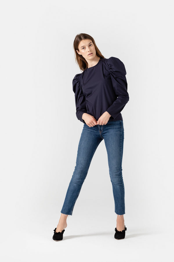 SHOP - November Six - Candice Puff Sleeve Top - Cotton - Navy Blue