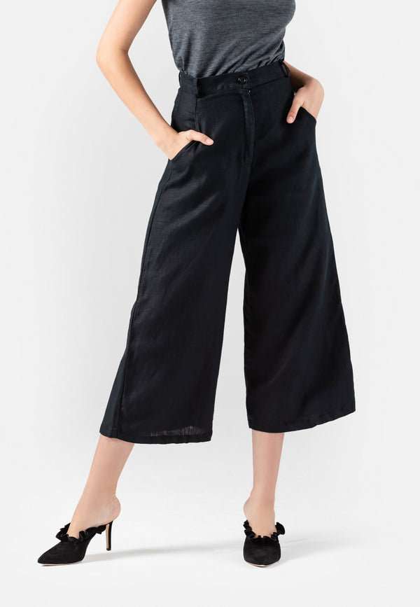 SHOP - THEO High Waisted Linen Pants L November Six