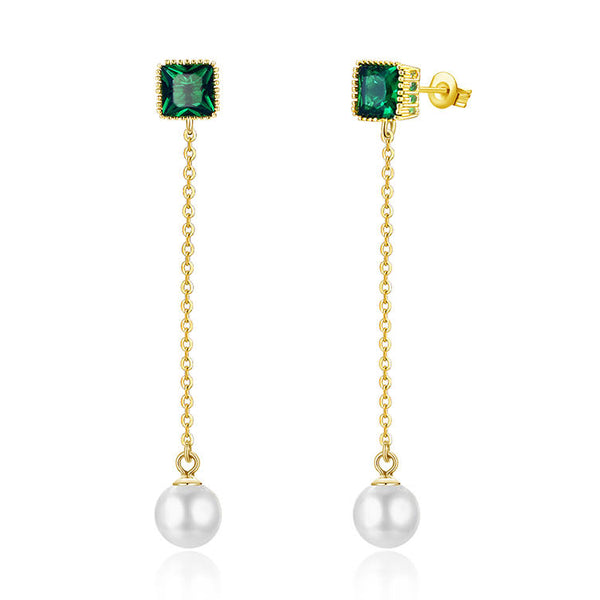 Pearl + Emerald Blossom Dangling Earrings