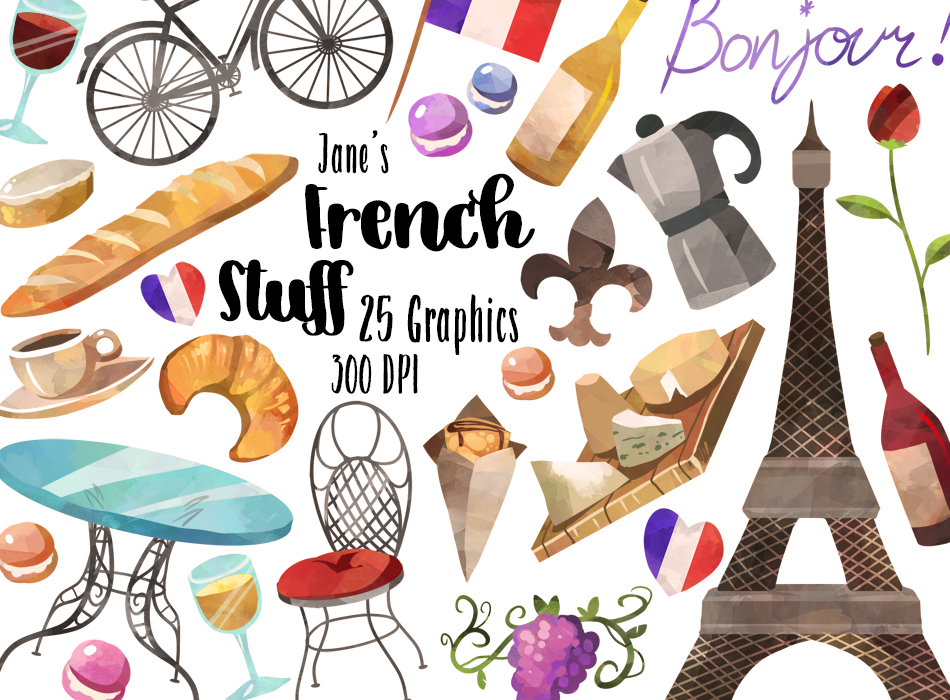 French Culture Graphics Set