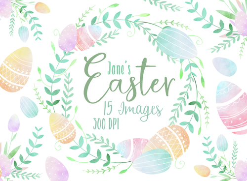 Pastel Easter Eggs Graphics Set