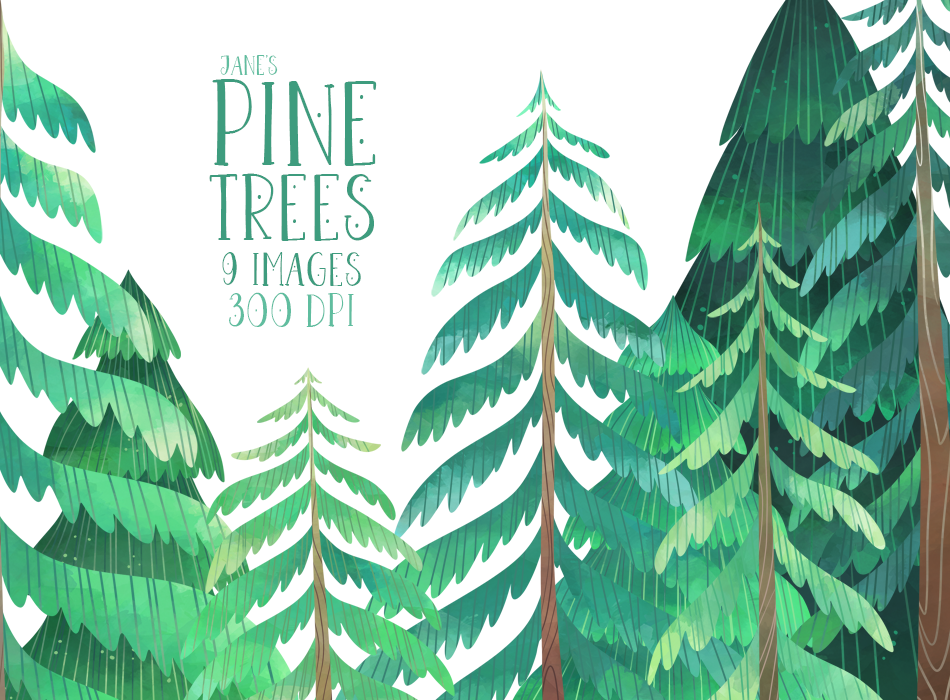 Pine Trees Graphics Set