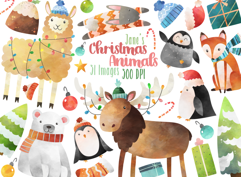 Christmas Animals Graphics Set