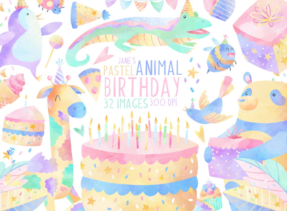 Birthday Animals Graphics Set