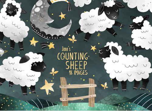 Counting Sheep Graphics Set