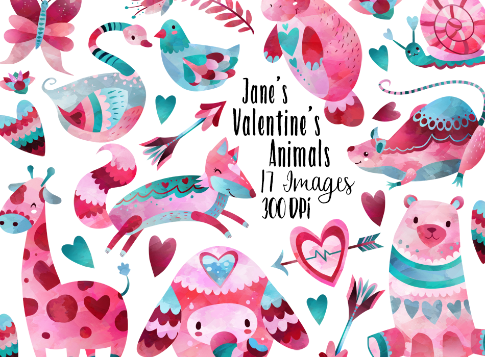 Valentines Day Animals Graphics Set