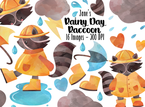 Rainy Day Raccoon Graphics Set