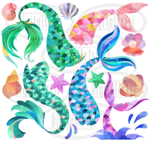Mermaid Tails Graphics Set