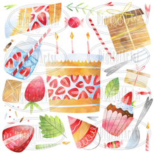 Strawberry Birthday Graphics Set