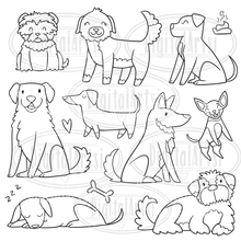Lineart Dogs Stamps Graphics Set