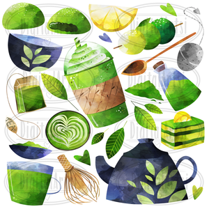 Green Tea Graphics Set