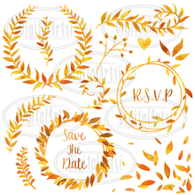 Gold Leaf Graphics Set